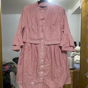 French connection long sleeve stripped dress
